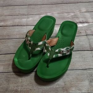 Coach Kelly green Jaden wedge flip flops